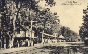 O.&W. Train, Sylvan Beach, New York, NY, USA Railroad Train Depot Postcard Po...