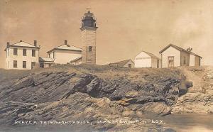 Jamestown RI Beaver Tail Lighthouse Real Photo Postcard
