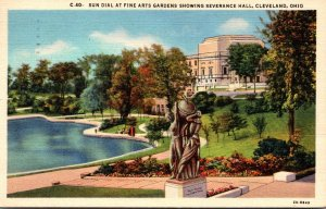 Ohio Cleveland Sun Dial At Fine Arts Gardens Showing Severance Hall 1947 Curt...