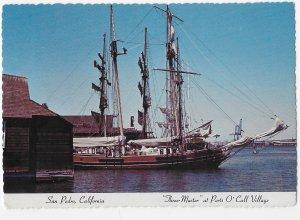 San Pedro California Ports O Call Village Three Master Ship 4 by 6