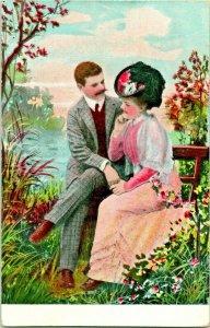Vtg Postkarte 1910s Romanze Garten Blumen Big Hat Bench Weißes Kleid Unbenutzt