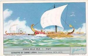 Liebig Trade Card S1803 Story of Sail No 1 Origini