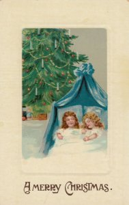 CHRISTMAS , 1900-10s ; Sleeping kids & Tree