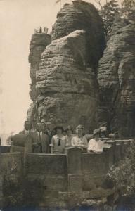 RPPC Tourists near Konigstein, Bavaria, Germany