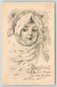 WH List ? Christmas~Lovely Lady Head Study~Ermine Wrap~Poinsettia~1914 G&B