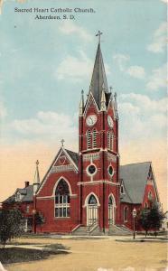 Aberdeen South Dakota~Sacred Heart Catholic Church~Clock & Cross on Steeple~1914