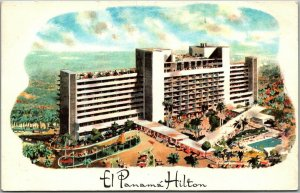 Vintage Panama City Postcard EL PANAMA HILTON Artist's View / 1959 Cancel