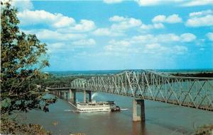 Hannibal MO~Stern-Wheeler Steamboat~Mark Twain Bridge~Mississippi River~1960s