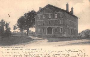 Sacket Harbor New York Masonic Hall Exterior Vintage Postcard JC627907