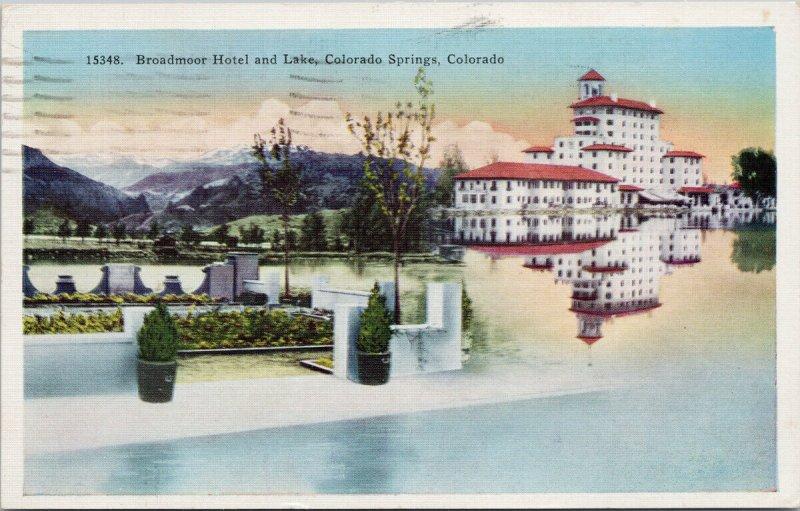 Broadmoor Hotel Colorado Springs CO c1943 Linen Postcard G75