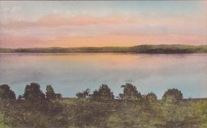 California Lake County Sunset On Cear Lake Handcolored Albertype