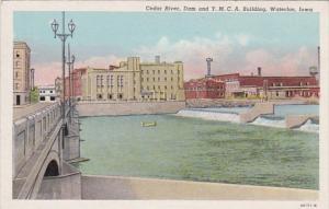 Iowa Waterloo Cedar River Dam & Y M C A Building Curteich