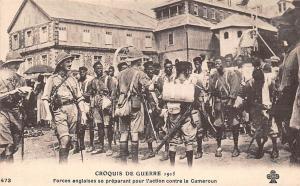 Cameroun Cameroon Croquis de Guerre 1915 Forces Anglaises WWI Postcard