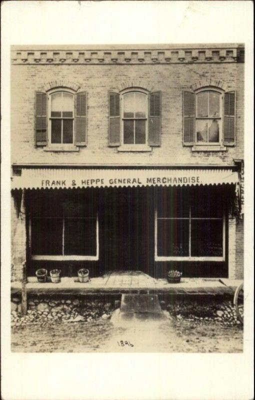 Frank & Heppe General Merchandise Store Storefront c1910 Real Photo Postcard