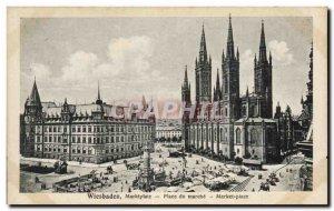 Old Postcard Wiesbaden Marktplatz Market Square walking up