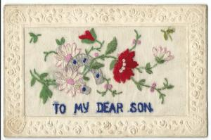 WW1 Silk Embroidered PC, To My Dear Son, Flowers & Lucky Horseshoe
