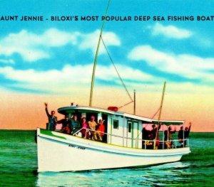 Aunt Jennie más Popular Mar Profundo Pesca Barco Biloxi Ms Unp Cromo Postal