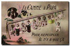 Old Postcard Fantasy Children Babies The cane dad