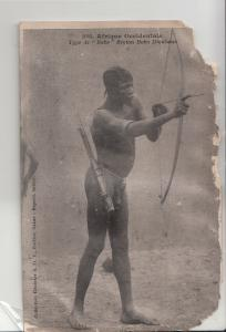 African Bobo ethnic type arrow bow Dioulasso damaged early postcard