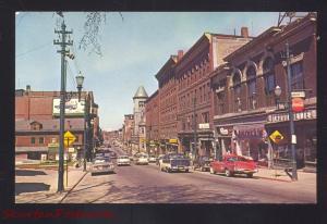 AUGUSTA MAINE DOWNTOWN STREET SCENE 1950's CARS STORES VINTAGE POSTCARD