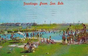 Sea Isle Pool, People Swimming & Diving, Sea Isle, New Jersey, PU-1962