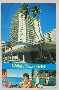 Vtg.PC: Waikiki Resort Hotel- 3 views -car in front, girl in pool, balcony.