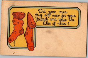 Holey Patched Darned Socks Artist Frederic Cavally c1911 Postcard A29