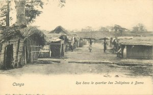 Belgian Congo Belge Boma natives quarter ethnic life village scene postcard