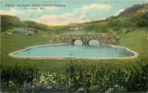 La Crosse Wisconsin~Catholic Cemetery~Lagoon & Rustic Bridge~1910 Postcard