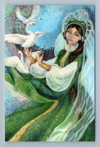 FROG PRINCESS with SWAN BIRDS Fairy Tale Ethnic Folk Girl Russian New Postcard