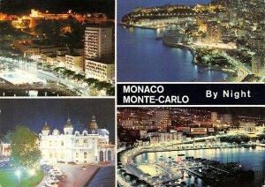 Monaco Multi View Postcard, Monte Carlo by Night, Harbour, Boats AX9