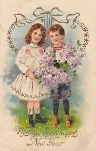 NEW YEAR; Boy & Girl, bouquet of purple flowers, 00-10s