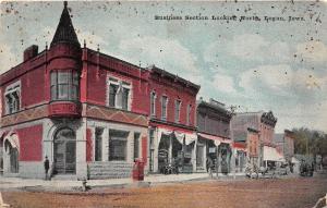 B4/ Logan Iowa Ia Postcard 1910 Business Section Stores Bank North