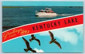 Postcard KY Banner Dual View Greetings From Kentucky Lake Vintage O15