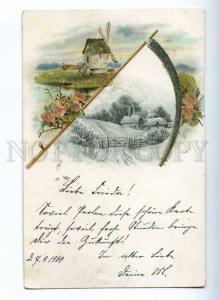 189907 ART NOUVEAU Landscape Winter Old APPLIQUE spangle PC