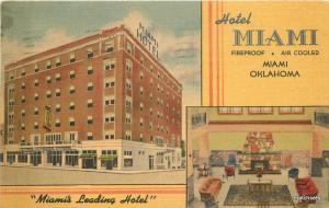 1949 Miami Oklahoma Hotel Advertising Annual Fishathon Grand Lake Linen Postcard