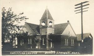 Bonner Springs KS Christian Church~Open Belltower~Telephone Pole c1917