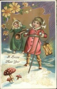 New York - Boy w/ Trident Blowing Horn - Light Glitter c1910 Postcard