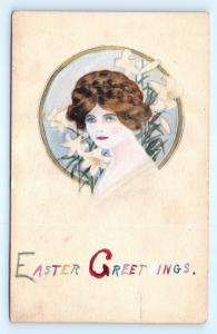 Postcard Easter Greetings Woman Easter Lilies Home Colored Gravure 1912 I5