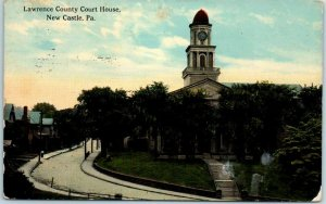 New Castle, Pennsylvania Postcard LAWRENCE COUNTY COURT HOUSE Building View 1914