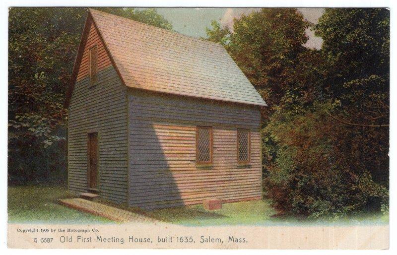 Salem, Mass, Old First Meeting House, built 1635, Rotograph
