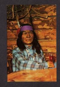 ME Tilton's Tilton Log Cabin Restaurant SKOWHEGAN MAINE Postcard Indian