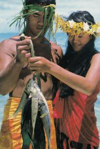Young Polynesian Couple Fishing African Postcard