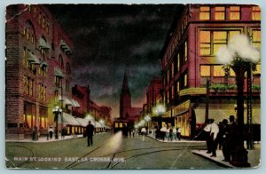 La Crosse WI~Doerflingers Department Store All Lit Up~St Joseph Cathedral c1910
