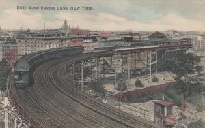 NEW YORK CITY, 1900-10s; 110th Street Elevator Curve, Railroad Train on tracks