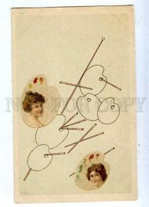 185487 ART NOUVEAU Portrait of Ladies on Palette Vintage PC