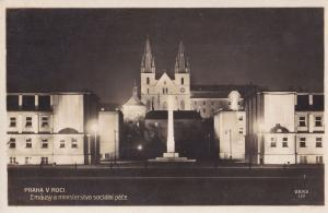 Praha Emausy Prague Embassy At Night Real Photo Old Postcard