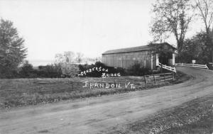 Brandon Vermont~Sanderson Covered Bridge~Pearl Street~b1840e~1940s RPPC
