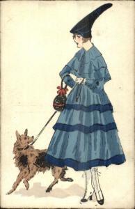 French Glamour Fashion Beautiful Woman Unusual Hat Blue Dress Walking Dog PC