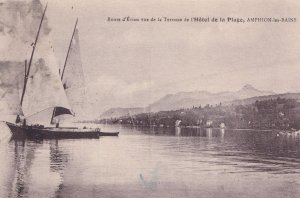 Sailing Ships at Amphion Hotel De La Plage Old French Postcard